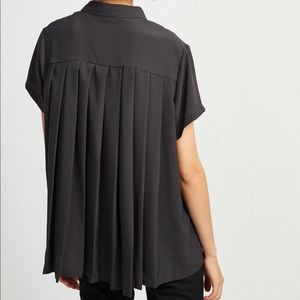 French Connection Black crepe short sleeve blouse